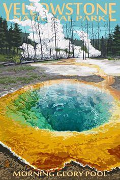 Yellowstone National Park, Wyoming - Morning Glory Pool - Lantern Press Artwork