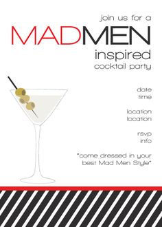Mad Men Invite - free printable with drink tags