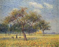 "Gustave Loiseau ~ ""Pommiers en Octobre (Apple Trees in October) ~ Huile sur Toile 1898 Post Impressionism, Impressionist, Reproduction, Art Database, Leaf Art, Apple Tree, Large Art, Lovers Art, The Borrowers"