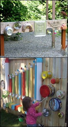 Want your little kids to explore and be more active outdoors? Then you've got to give them something that's really fun and entertaining, like this DIY outdoor music wall! There are many ways to create an outdoor music or sound wall, Kids Outdoor Play, Outdoor Play Spaces, Kids Play Area, Childrens Play Area Garden, Outdoor Toys, Outdoor Games, Preschool Playground, Backyard Playground