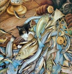 Illustration by Nicola Bayley for 'The Mousehole Cat' written by Antonia Barber Gata gatona Children's Book Illustration, Book Illustrations, Fish Art, Cat Art, Book Art, Drawings, Children's Books, Mousehole Cornwall, Cat Paintings