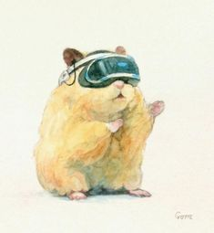 Japanese Artist Paints Adorable Watercolours Of Pet Hamster Doing Human Things Watercolor Pictures, Watercolor Animals, Japanese Hamster, Hamster Life, Baby Animals, Cute Animals, Art Mignon, Cute Hamsters, Poses References