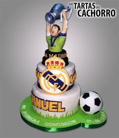 Tarta Real Madrid Soccer Birthday, Soccer Party, Sports Party, Birthday Cake, Torta Real Madrid, Soccer Cake, Sport Cakes, Bowling, Amazing Cakes
