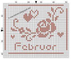 maxi stickt: Freebies Cross Stitch Rose, Cross Stitch Flowers, Neuer Monat, Pixel Art, Stitch Patterns, Chart, Knitting, Mini, February
