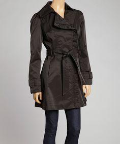 Look at this #zulilyfind! Black Tie-Waist Asymmetrical Coat by Jessica Simpson Collection #zulilyfinds