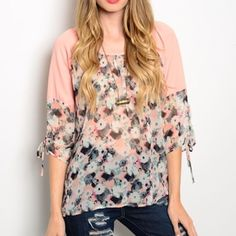 FLASH SALE Peach Gray Black Sheer Floral Top Only $10! ‼️PRICE FIRM UNLESS BUNDLED ‼️ Gorgeous lightweight top in a sheer watercolor print. 3/4 length sleeves that can be tied up for a shorter sleeve look. Pics are showing one sleeve up and one sleeve down. Made in the USA. Sizes Small (fits Sz 0-2), Medium(fits Sz 4-6) and Large(fits Sz 8-10). Tops Tunics