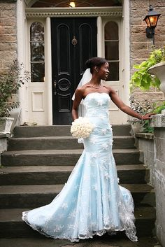 So far, we've seen two Wedding Dress Fantasy dresses that are big, bold, and beautiful. But Tova, the designer behind Wedding Dress Fantasy can create wedding dresses that are also sleek and … Blue Wedding Gowns, Second Wedding Dresses, African Wedding Dress, Custom Wedding Dress, Gorgeous Wedding Dress, Modest Wedding Dresses, Bridal Dresses, Beautiful Dresses, Blue Weddings