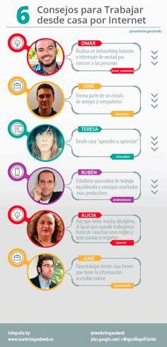 6 consejos para trabajar desde casa por Internet #infografia #infographic #empleo