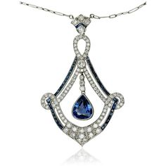 Sapphire Diamond Collier   Saphir-Diamant-Collier, Halskette mit 3,343ct Saphiren und 1,390ct Diamanten in Weissgold