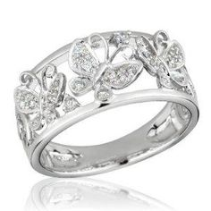Rhodium Plated Sterling Silver Wedding U0026 Engagement Ring Multicolor W/  Clear CZ Butterfly Ring 15MM ( Size 5 To 9) Double Accent. $46.99. 925  Sterlu2026