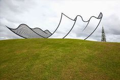A giant sculpture in New Zealand by artist Neil Dawson . It's just a stainless steel outline.