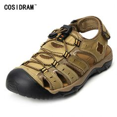 a4073f904696 Good price Plus Size 45 46 47 48 Summer Men Shoes Genuine Leather Men  Sandals Beach