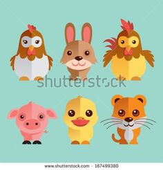 Funny Animal Vector illustration Icon Set