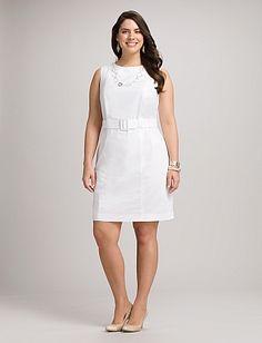 Plus Size Belted White Sheath Dress