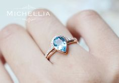 Pear Aquamarine Engagement Ring and Band Set by MichelliaDesigns