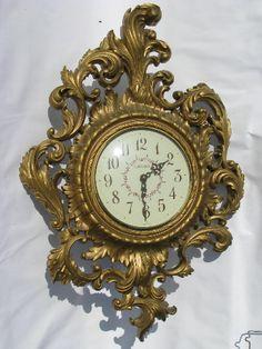 Ornate gold rococo wall clock