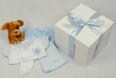 A Beautifully Presented Baby Box with Gorgeous Shorts and T-Shirt, Cardigan, Socks and Toy Puppy, this is an Ideal New Baby Gift, for a Colleague or Baby Shower Gifts Baby Box, Toy Puppies, New Baby Gifts, Little Babies, Baby Shower Gifts, New Baby Products, Boxes, Gift Wrapping, Gift Wrapping Paper