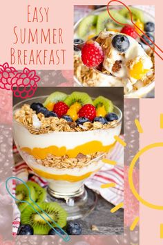 Tropical healthy breakfast recipe, granola with yoghurt, passion fruit curd and fruit. Simply layer the ingredients in a glass or bowl and top with your choice of fruit. The best summer yogurt recipe for a quick easy start to the day!