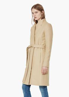 Abrigo lana cinturón - Abrigos de Mujer | MANGO