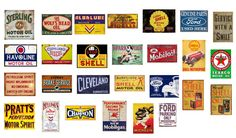 1/18 scale model .Vintage garage signs set 2). stickers/decals. GLOSS finish