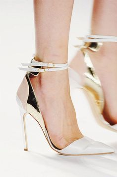 white and gold ankle strap heels