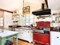 My kitchen is smaller, but this is what I'm going for...  Warm, Inviting Kitchen - Welcoming, Cottage Kitchen on HGTV