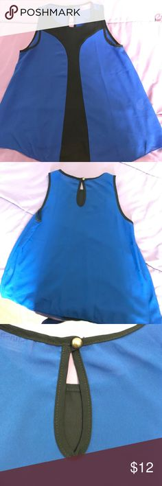 Black/blue top Blue & black dressy top. Worn a couple of times and still in great condition. Material is see through, but it's dark color, so it still looks good without an undershirt. Material is 100% Polyester shasha Tops Tank Tops