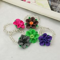 Handmade Polymer Clay Flower Rings, with Glass Seed Beads and Elastic Thread, Mixed Color