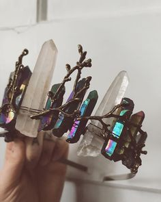 ✨✨ aurora borealis crystal crown - mystical forest witch vibes  #crystalcrown #witchy #magical