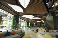 Stretch ceiling prices vary according to designs and are presented economically. Stretch ceilings are often used in interior architecture. Wooden Ceiling Design, Wooden Ceilings, False Ceiling Design, Lobby Interior, Interior Architecture, Interior Design, Office Ceiling, Ceiling Decor, Mall Design