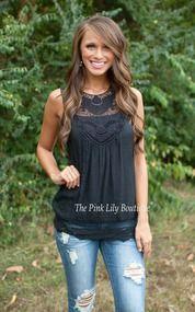 Beautiful Lace Tank Black