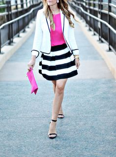a pop of Pink, with white blazer and black and white stripes circle skirt