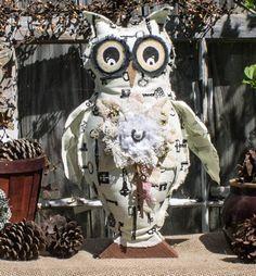 Shabby Elegance Owl Handmade Owl DecorStuffed OwlHome by OwlNique