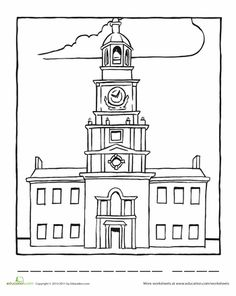 independence hall coloring page cc cycle 3 pinterest independence hall homeschool and. Black Bedroom Furniture Sets. Home Design Ideas
