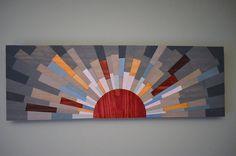 """wood wall art - """"UNDER THE BOARDWALK"""" - wood art, wooden wall art, modern, contemporary, sun, beach wood art, marsala, blue, grey, yellow"""