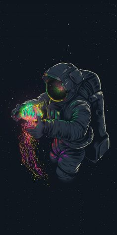 Jellyfish and astronaut, fantasy, minimal, 1080x2160 wallpaper