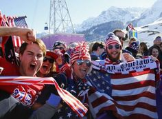 "U.S. fans cheer during the men""s freestyle skiing slopestyle finals at the 2014 Sochi Winter Olympic Games in Rosa Khutor February 13, 2014...."