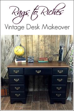 A True Rags To Riches Makeover See Beat Up Vintage Desk Transformed With Paint