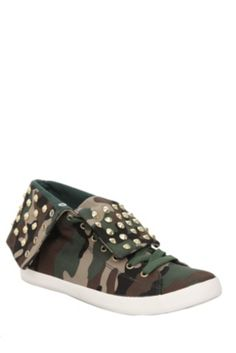 Cute To The Core Thrill Green Camo Studded Foldover Canvas Shoes | $41