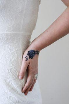 Delft Blue flower temporary tattoo / delft blue temporary
