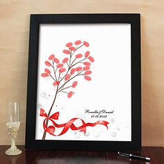 Personalized Fingerprint Painting Canvas Prints - Red Bow (Includes 6 Ink Colors And Frame) – USD $ 31.49
