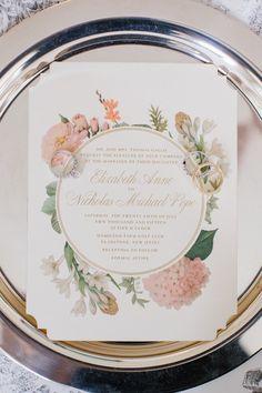chic floral wedding invitation; photo: Kelly Kollar Photography