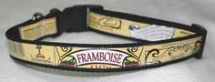 Adjustable Dog Collar from Recycled Lindemans Framboise Lambic Beer Labels by squigglechick on Etsy