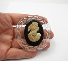 Lucite Cameo Brooch Vintage by Violasvintages on Etsy, $38.00