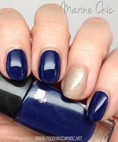Lancome Marine Chic (blue) polish from its Summer 2014 French Riviera Collection. Beautiful nautical blue! Here paired with a sandy Formula X by Sephora Opposites Attract.