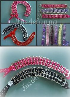 I've seen this done to belt length, also. Soda Tab Crafts, Can Tab Crafts, Crafts To Make, Pop Top Crafts, Pop Tab Bracelet, Pop Can Tabs, Soda Tabs, Pop Cans, Micro Macramé