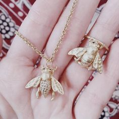 Gold Diamond Bee Necklace and Ring with Sapphire Eyes Bee Necklace, Arrow Necklace, Pendant Necklace, Sapphire Eyes, Bee Ring, Animal Magnetism, Storyboard, 18k Gold, Jewelry Rings