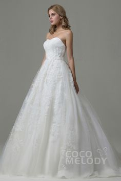Charming A-Line Sweetheart Natural Train Tulle Ivory Sleeveless Lace Up-Corset Wedding Dress with Appliques B14E3A024 #weddingdress #weddingdress2016 #cocomelody