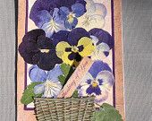 """Set of 3 """"Thinking Of You"""" Cards With Pressed Real Pansies Made With Handmade Tinted Paper, Wood. Acacia Leaves, Sack Cloth and Satin Ribbon"""