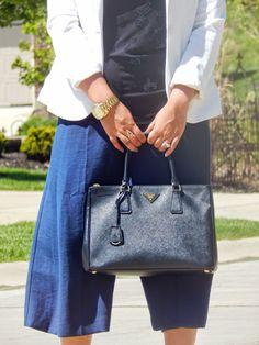 Navy Culottes + White Blazer + Black Prada Saffiano Bag